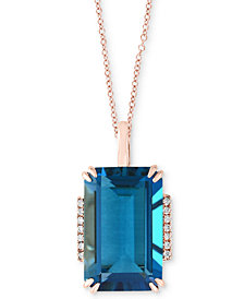 "EFFY® London Blue Topaz (10 ct. t.w.) & Diamond Accent 18"" Pendant Necklace in Rose Gold"