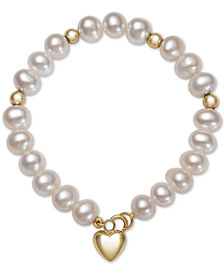 Children's Cultured Freshwater Pearl (5mm) Heart Charm Bracelet in 14k Gold