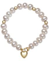 0b04f8bc00af6 Children's Cultured Freshwater Pearl (6mm) Heart Charm Bracelet in 14k Gold