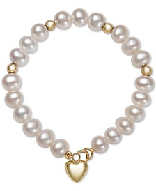 Children's Cultured Freshwater Pearl (6mm) Heart Charm Bracelet in 14k Gold