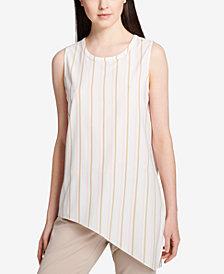 Calvin Klein Asymmetrical-Hem Striped Top