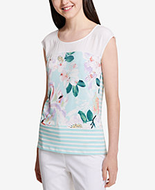 Calvin Klein Striped & Floral-Print Top