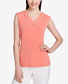 Calvin Klein Embellished V-Neck Top