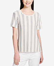 Calvin Klein Textured-Stripe Scoop-Neck Sweater