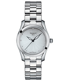 Tissot Women's Swiss T-Lady T-Wave Diamond-Accent Gray Stainless Steel Bracelet Watch 30mm
