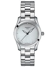Tissot Women's Swiss T-Lady T-Wave Diamond-Accent Gray Stainless Steel Bracelet Watch 30mm