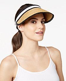 August Hats Colorblocked Straw Visor