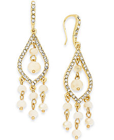 I.N.C. Gold-Tone Pavé & Bead Chandelier Earrings, Created for Macy's