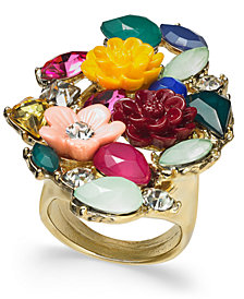 I.N.C. Gold-Tone Stone & Flower Motif Statement Ring, Created for Macy's