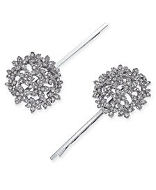 I.N.C. Silver-Tone 2-Pc. Set Crystal Flower Hairpins, Created for Macy's