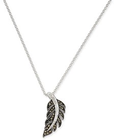 """Marcasite & Crystal Feather 18"""" Pendant Necklace in Fine Silver-Plate"""