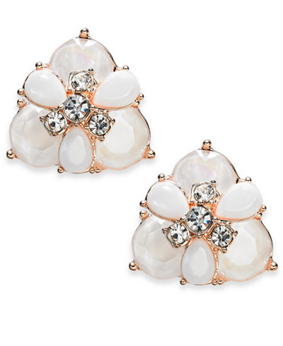 Charter Club Rose Gold-Tone Crystal & Stone Cluster Stud Earrings, Created for Macy's