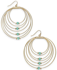 Thalia Sodi Gold-Tone Bead Graduated Drop Hoop Earrings, Created for Macy's