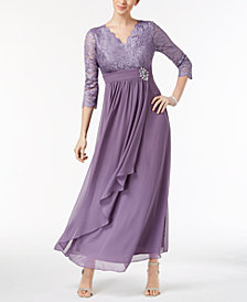 Alex Evenings Petite Lace & Chiffon Surplice Gown