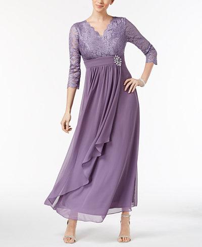 Alex Evenings Petite Lace & Chiffon Surplice Gown