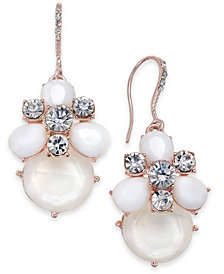 Charter Club Rose Gold-Tone Crystal & Stone Drop Earrings, Created for Macy's
