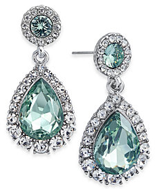 Charter Club Silver-Tone Pavé & Colored Crystal Drop Earrings, Created for Macy's