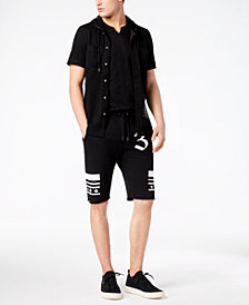 I.N.C. Men's Hooded Mesh Shirt, Soft Touch Split-Neck T-Shirt & Graphic-Print Drawstring Shorts, Created for Macy's