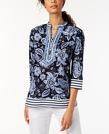 Charter Club Cotton Printed Split-Neck Top, Created for Macy's