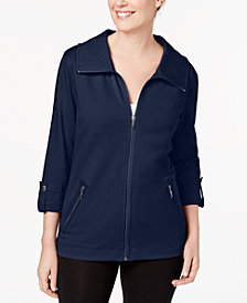 Karen Scott Petite Zip-Up Jacket, Created for Macy's