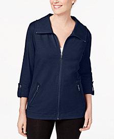 Karen Scott Petite Zip-Up Jacket, Created for Macy's