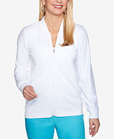 Alfred Dunner Turks & Caicos Mesh Bomber Jacket