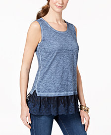 Style & Co Petite Lace-Hem Tank Top, Created for Macy's