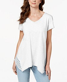 Crochet Handkerchief-Hem T-Shirt, Created for Macy's