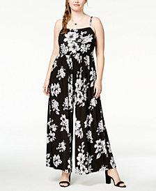 Soprano Trendy Plus Size Wide-Leg Knit Jumpsuit