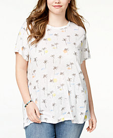 Lucky Brand Trendy Plus Size Cotton Palm-Tree-Print T-Shirt