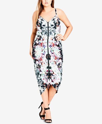 City Chic Trendy Plus Size Draped Zip-Front Dress