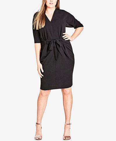 City Chic Trendy Plus Size Tie-Front Sheath Dress