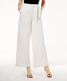 The Edit By Seventeen Juniors' Belted Crepe Wide-Leg Pants, Created for Macy's