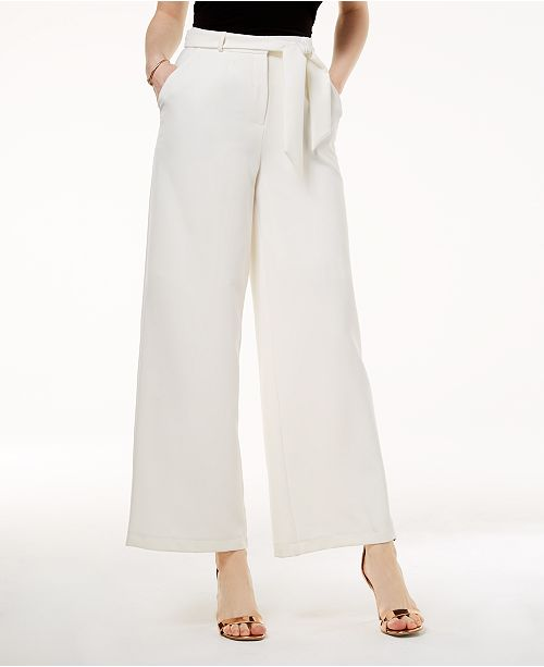 Belted Crepe Wide-Leg Pants