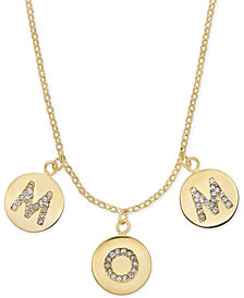 "kate spade new york Gold-Tone Pavé Mom Charm Pendant Necklace, 17"" + 3"" extender"