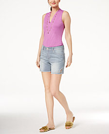 I.N.C. V-Neck Top & Striped Shorts, Created for Macy's