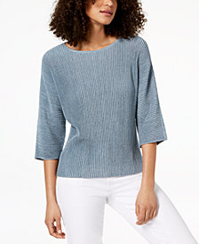Eileen Fisher Hemp Blend Ribbed-Knit Sweater, Regular & Petite