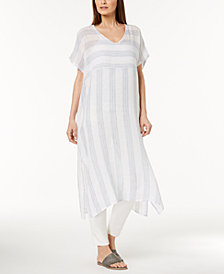 Eileen Fisher Organic Linen Striped Caftan, Regular & Petite
