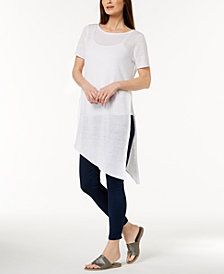 Eileen Fisher Organic Linen Asymmetrical Sweater, Regular & Petite