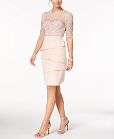 Adrianna Papell Petite Sequined Illusion & Tiered Dress