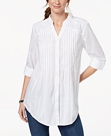 Style & Co Pintucked Lace Tunic, Created for Macy's