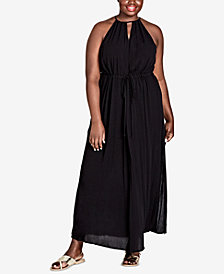 City Chic Trendy Plus Size Drawstring-Waist Maxi Dress