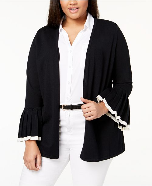 Plus Size Tipped-Sleeve Cardigan, Created for Macy's