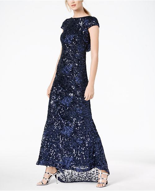 e9737694d693 Calvin Klein Embroidered   Sequined Scoop-Back Gown   Reviews ...