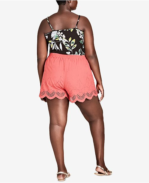 City Chic Trendy Plus Size Scalloped Eyelet Shorts Shorts Plus