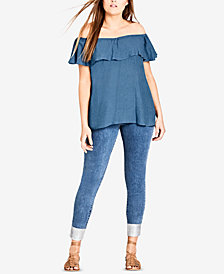 City Chic Trendy Plus Size Off-The-Shoulder Denim Top