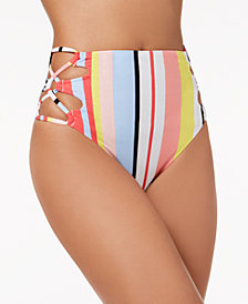 Bar III Bold Stripe Printed Lace-Up High-Waist Bikini Bottoms, Created for Macy's