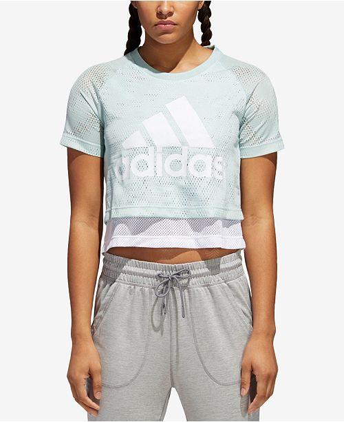 c73929198 adidas ID Layered Cropped T-Shirt & Reviews - Tops - Women - Macy's
