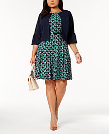 Jessica Howard Plus Size Belted Dress & Bell-Sleeve Jacket