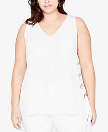 RACHEL Rachel Roy Trendy Plus Size Laced-Side Tank
